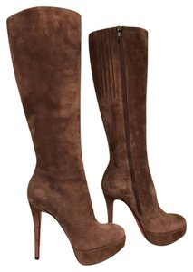 Christian Louboutin Bianca Suede Stiletto Platform brown Boots