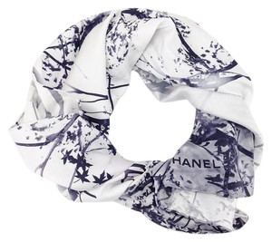 Chanel Chanel 100% Silk Printed Tree Branch and Leaves Square Scarf