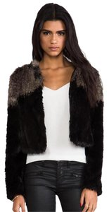 Twelfth St. by Cynthia Vincent Faux Fur Fur Color-blocking Two-tone Structured Fur Coat