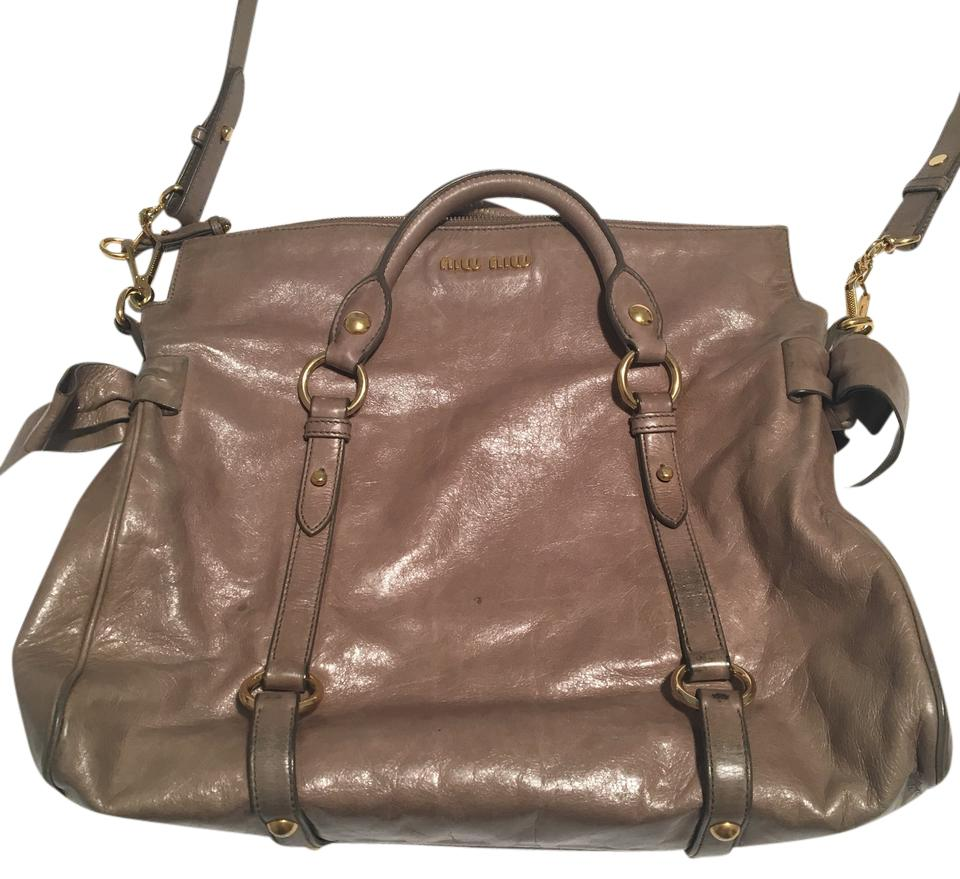 e6232a06fb23 Miu Miu Vitello Lux Bow Foldover Leather Satchel - Tradesy