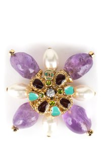 Chanel Chanel Gripoix Star Burst Brooch With Purple Stones And Pearls