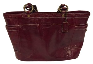 Coach Patent Leather Tote in dark red