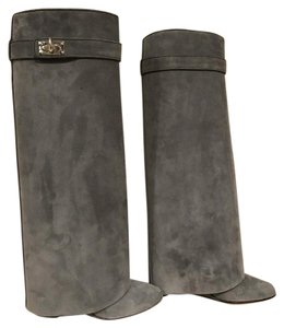 Givenchy Shark Lock Suede Wedge grey Boots