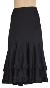 Anthropologie Ruffle Layered Odille Skirt BLACK
