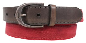 Coach New Casual Coach Men Red Fabric Trendy Brown Leather Classic Belt