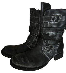 Vic Matié Grey Leather Buckles distressed grey/powder Boots