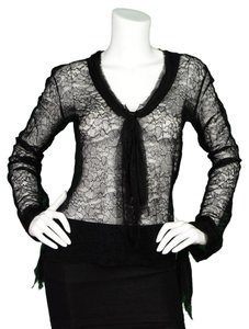 Chanel Lace Chiffon Silk Top Black