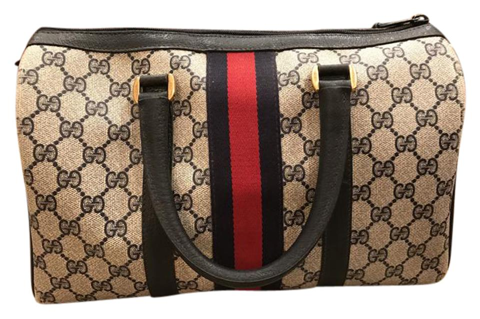 0fbacb667ac Gucci Boston Medium Beige Blue with Blue and Red Web and Blue Leather Trim Gg  Canvas Satchel