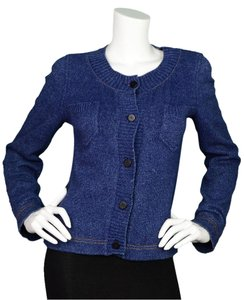 Chanel Denim Cardigan Knit Sweater