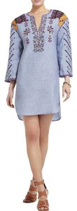 BCBGMAXAZRIA Embroidered Chambray Blue Tunic