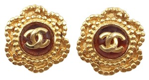 Chanel Vintage Chanel Gold Plated Orange Gripoix Clip on Earrings