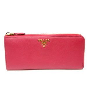 Prada Prada Saffiano Vivid Pink Leather Bi Fold Long Travel Wallet W/ Box