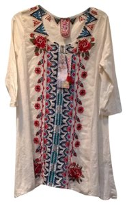 Johnny Was Panel Embroidered Cotton Boho Tunic