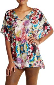 Johnny Was Silk V-neck Kaftan Poncho Tunic
