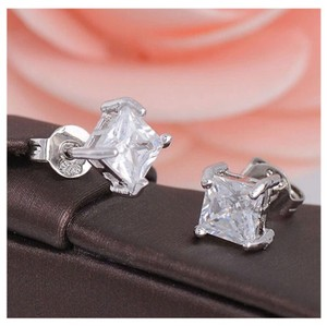 Next Level Dress Clear Square Stud Earrings