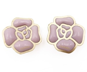 Chanel Rare Chanel Gold Plated Pink Pop Up Camellia Clip on Earrings