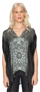 Johnny Was Silk Geometric V-neck Short Sleeve Draped Tunic