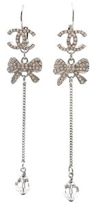 Chanel Chanel Silver CC Bow Crystal Long Dangle Lever Back Piercing Earrings