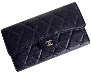 Chanel Chanel Caviar Quilted Large Flap Wallet in Navy Blue