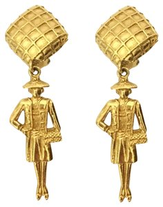 Chanel Authentic Chanel Mademoiselle Gold Tone Drop Earring