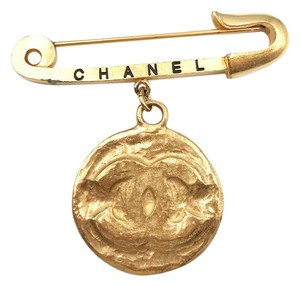 Chanel Vintage Rare Chanel Gold Plated Giant Safety Pin Medallion Coin Brooch