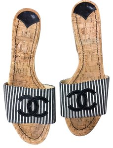 Chanel Cork Cc Wedge Mules Black and White Sandals