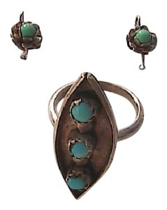 Other Sterling Silver Turquoise Ring & Earrings Set