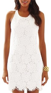 Lilly Pulitzer short dress White Lace Scalloped Halter Eyelet T-back on Tradesy