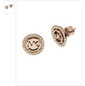 Michael Kors MICHAEL KORS Rose Goldtone Crystallized Logo Stud Earrings