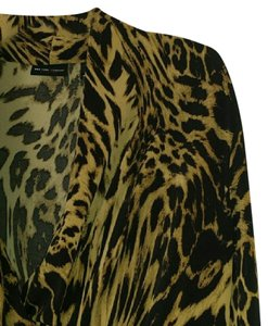 New York & Company Leopard V-neck Top Black and tan