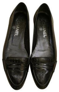 Chanel Perforated Loafers Black Flats