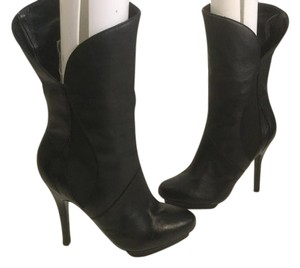 Charles Jourdan Heels Partial Zippers Front Platform Gorgeous black all leather stilettos mid calf Boots
