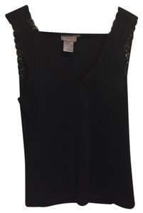 Sigrid Olsen 71% Rayon 29% Polyester Lace Extra Small Top Black