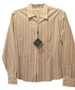 Brooks Brothers Button Down Shirt White, pink, dark gray and light gray stripes