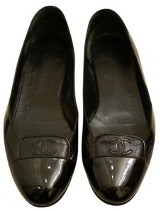 Chanel Ballet Leather Black Flats