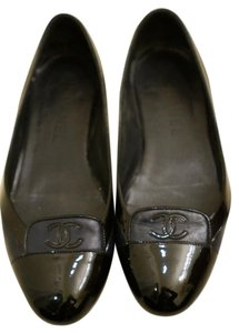 Chanel Ballet Leather Black/Blue Flats