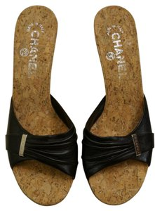 Chanel Cork Black Sandals