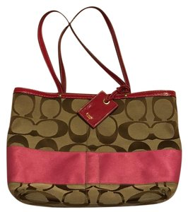 Coach Tote in pink and tan