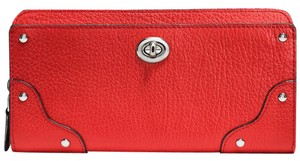 Coach Mercer Pebbled Leather Accordion Wallet Carmine