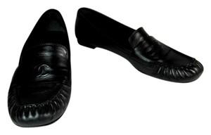 Chanel Leather Cc Black Flat Loafer Flats