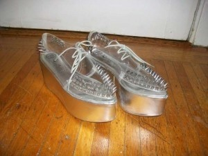 Jeffrey Campbell Stinger Spike Spikes Plastic Jellies Silver Clear Creeper Wedges Lace-up Platforms