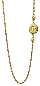 Chanel Authentic Chanel CC Logo Gold Tone Chain Necklace