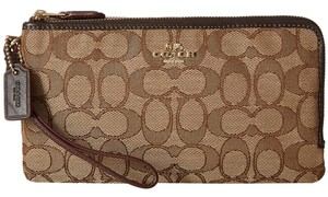Coach Signature Double Zip Wallet Wristlet Khaki / Brown