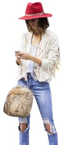 Tularosa Fringe Coachella Festival Off white Leather Jacket