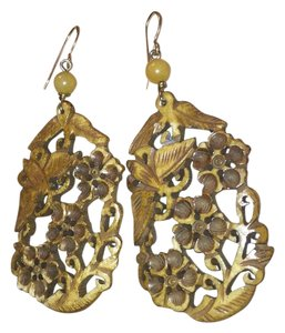 Anthropologie Woodland carved earrings