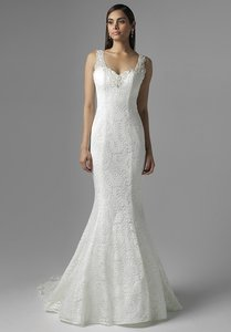 Mia Solano Ivory/Nude Lace M1620z Vintage Wedding Dress Size 14 (L)