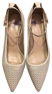 J.Crew Perforated Ankle Strap Low Heel On Trend cream Pumps