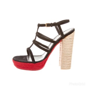 Saint Laurent Black Red & Tan Platforms