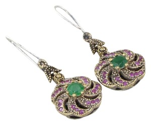Other SILVER VINTAGE ANTIQUE FINISH EMERALD & RUBY FLORAL DROP EARRINGS 10g