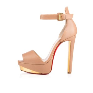 Christian Louboutin Heels Tuctopen Nude Beige Platforms